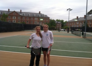 Sallie and I at the tennis court